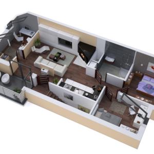 wizualizacja mieszkania apartamentu Leszno - święciechowa